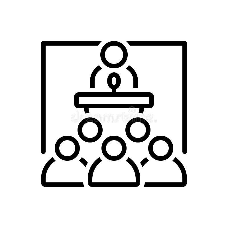 Svart linje symbol för seminarium, konferens och regel vektor illustrationer