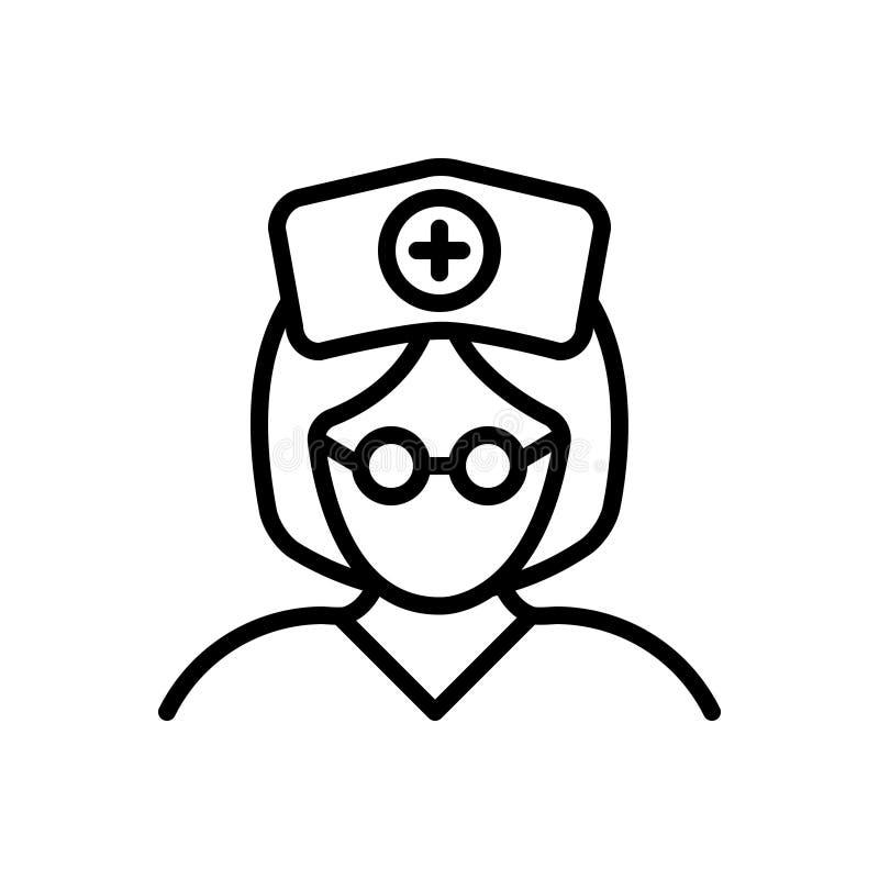Svart linje symbol för sjuksköterska, syster och kvinna vektor illustrationer