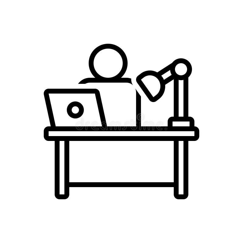 Svart linje symbol för skrivbord, workspace och kontor royaltyfri illustrationer