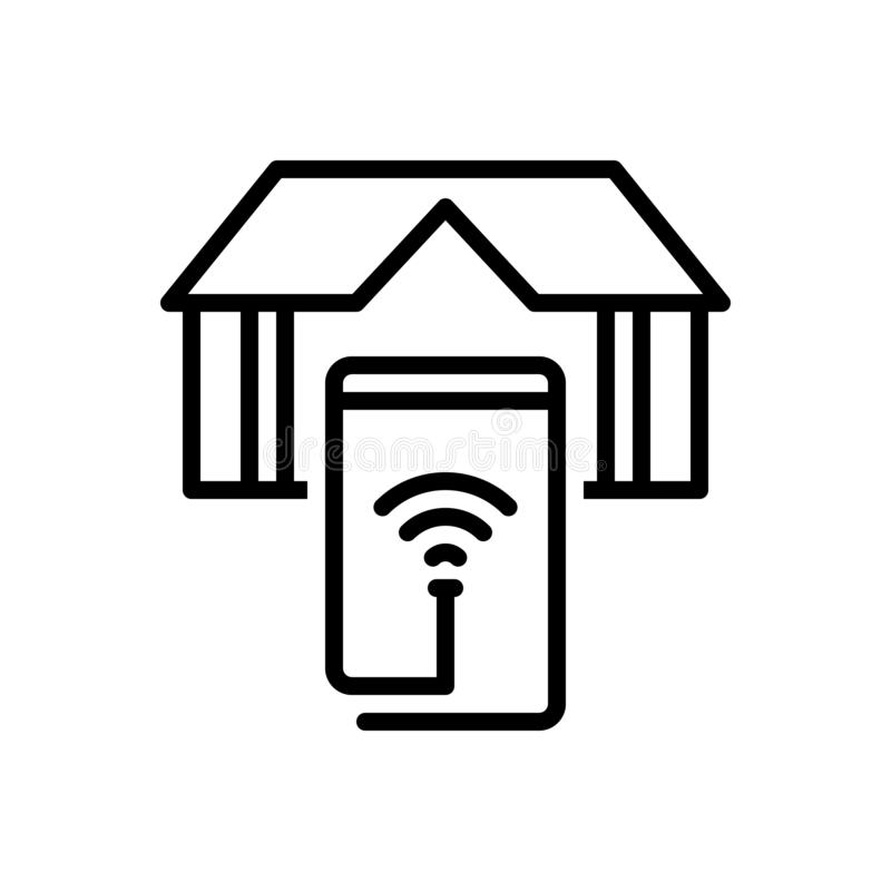 Svart linje symbol för Smart Home, elektricitet och app vektor illustrationer