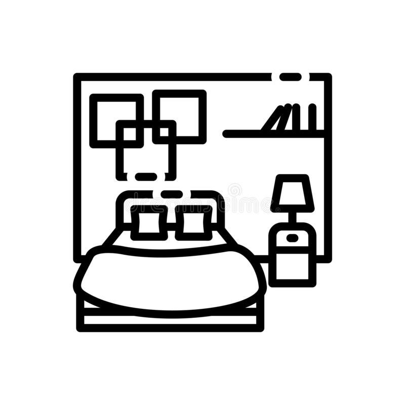 Svart linje symbol för sovrum, drom och att bo vektor illustrationer