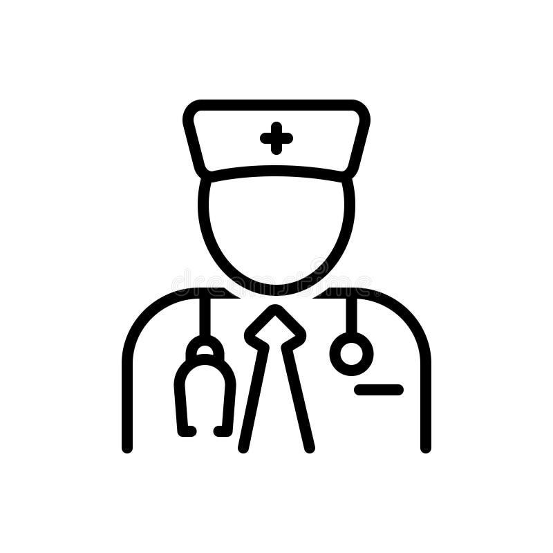Svart linje symbol för specialist, expert och kännare royaltyfri illustrationer