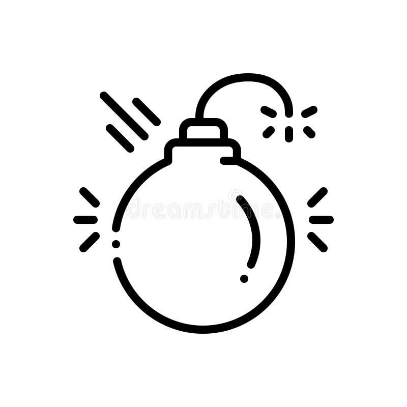 Svart linje symbol för splittrande, skadligt och fara vektor illustrationer
