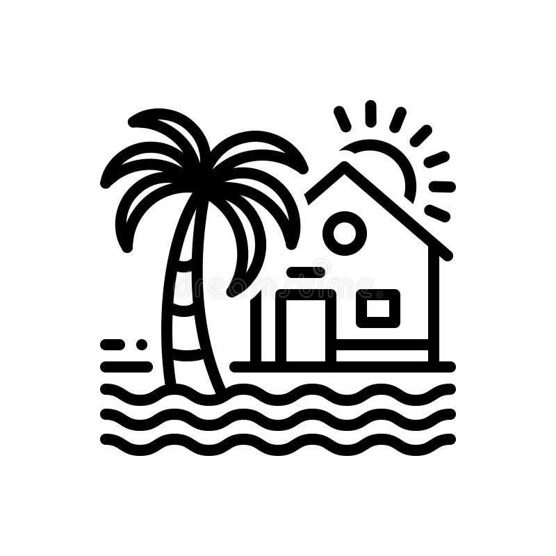 Svart linje symbol för strand, hus och semesterort royaltyfri illustrationer