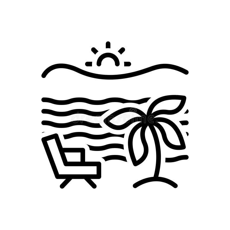 Svart linje symbol för strand, sjösida och område stock illustrationer