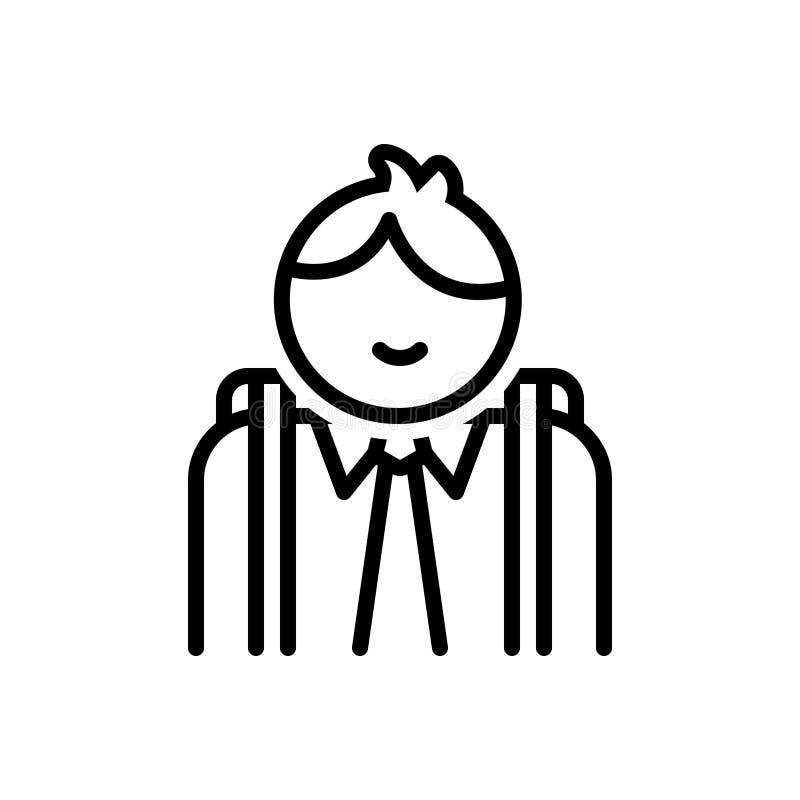 Svart linje symbol för student, elev och forskare vektor illustrationer