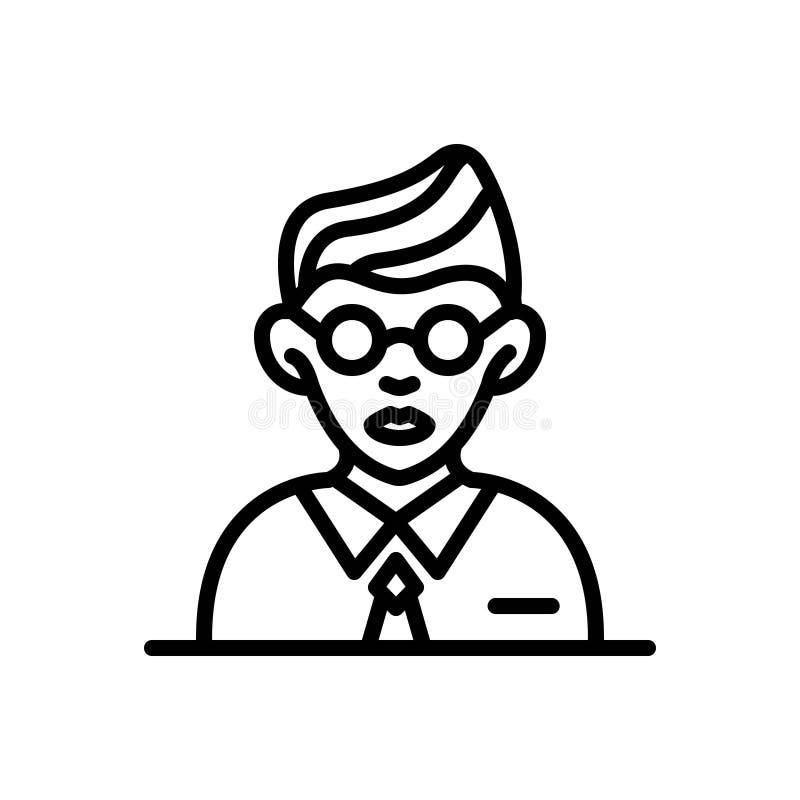 Svart linje symbol för studenter, elev och lärjunge stock illustrationer