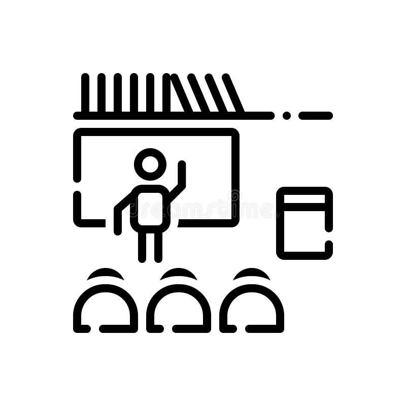 Svart linje symbol för Teach, lagledare och lärare royaltyfri illustrationer