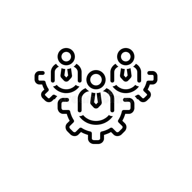Svart linje symbol för Team Work, lag och arbete stock illustrationer