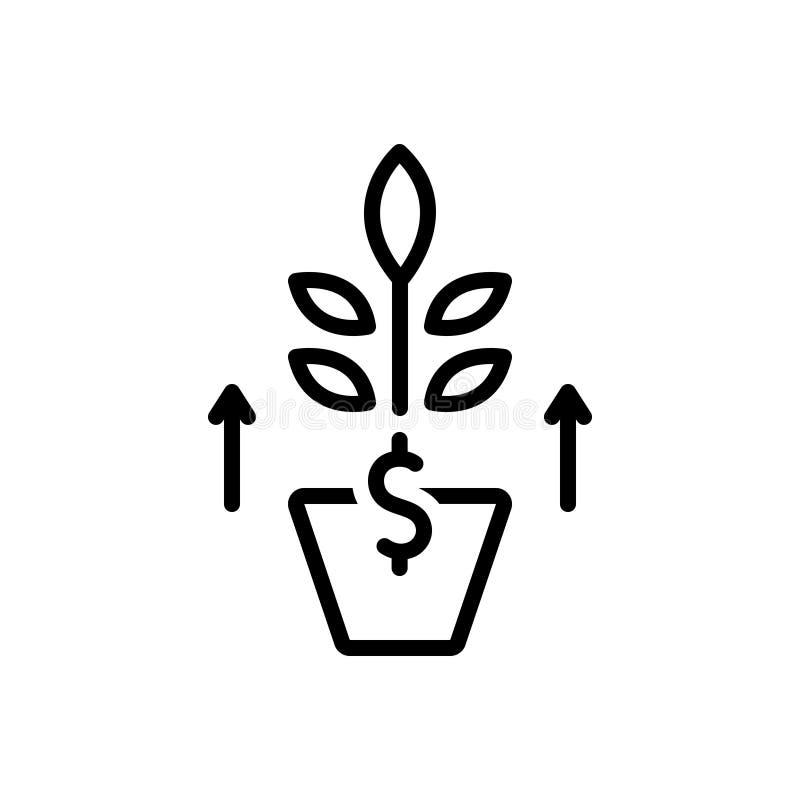 Svart linje symbol för tillväxt, utveckling och evolution vektor illustrationer