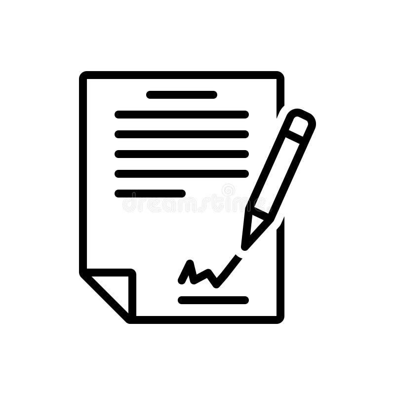 Svart linje symbol för underteckning av avtalet, av överenskommelsen och av fördraget stock illustrationer