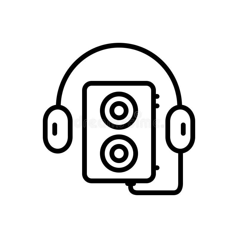 Svart linje symbol för walkman, musik och ljud royaltyfri illustrationer