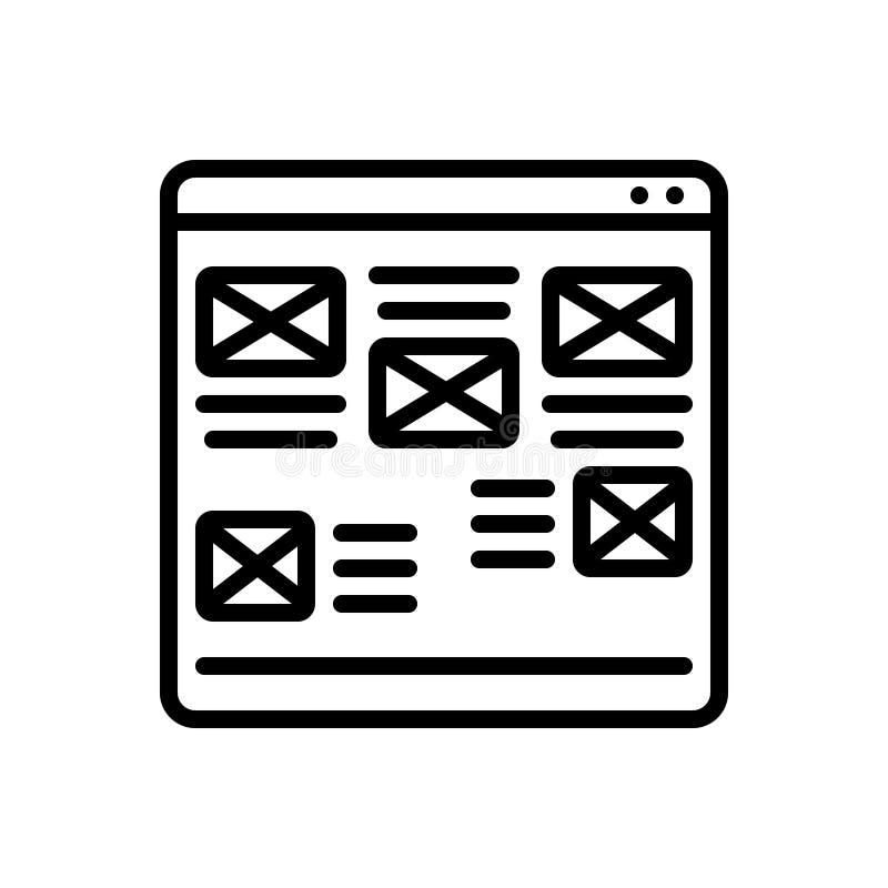 Svart linje symbol för Website, fult och oorganiserat stock illustrationer