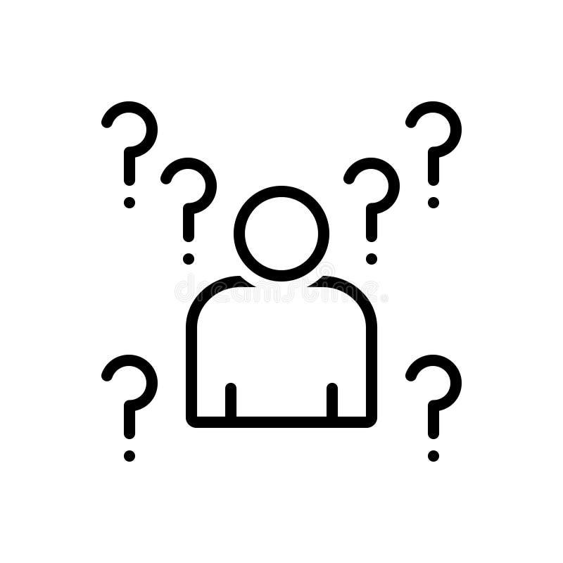 Svart linje symbol för Whois, obekant och okänt stock illustrationer