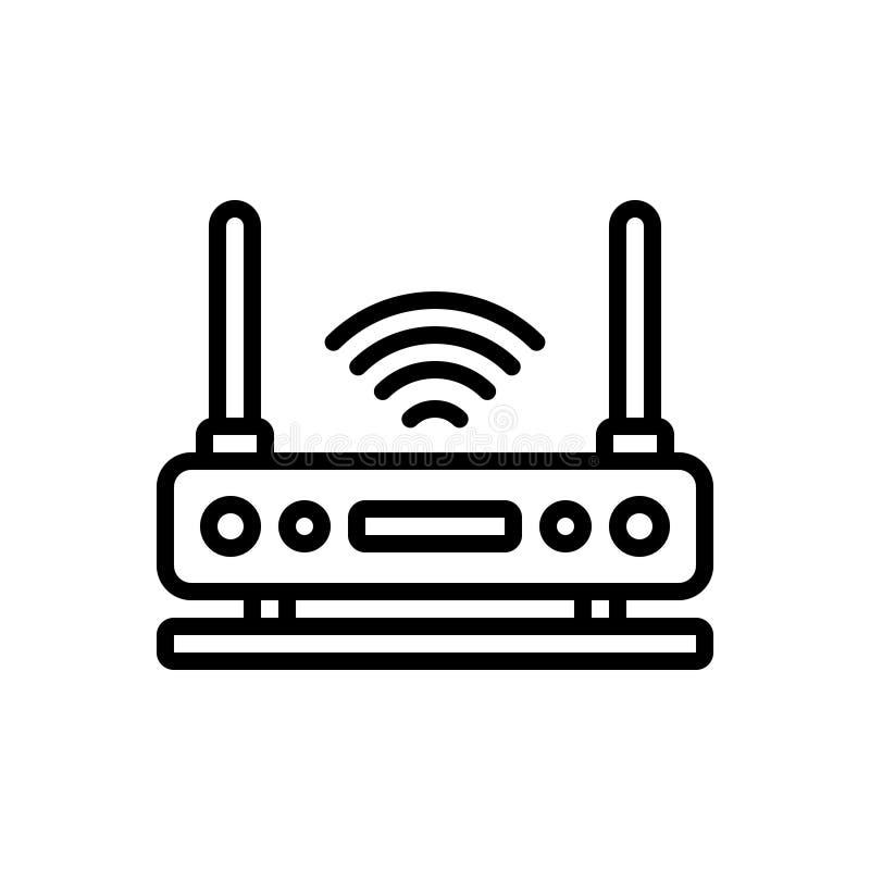 Svart linje symbol för Wifi, anslutning och router vektor illustrationer