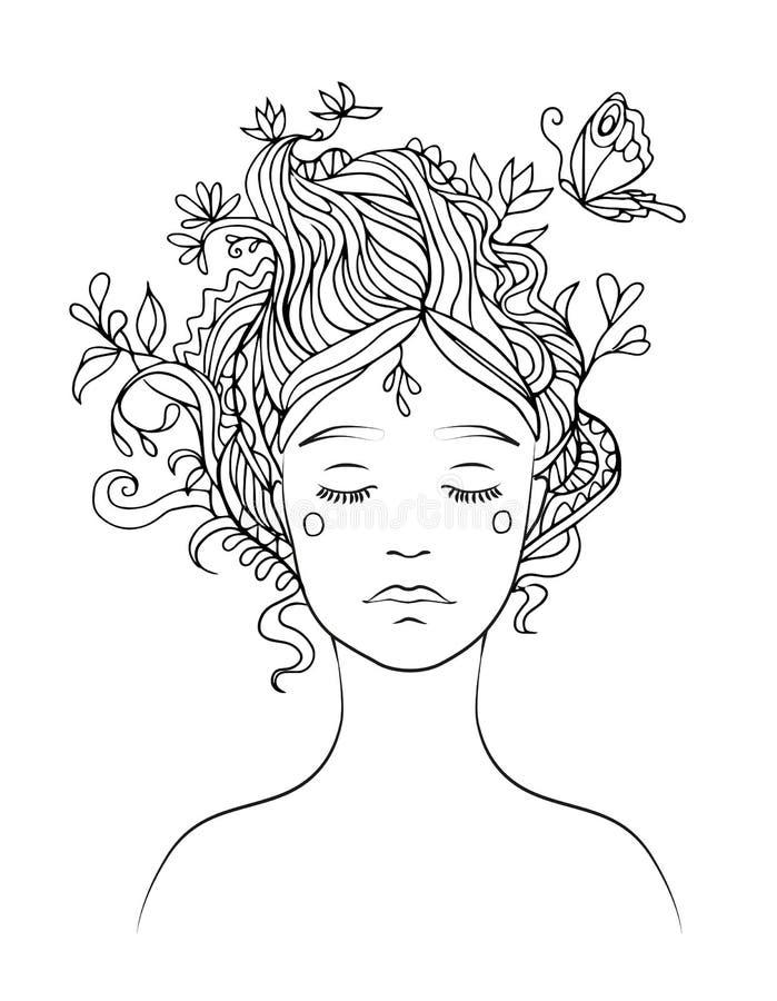 Svart linje vektorteckning av flickas stående med dekorativt hår och flygafjärilen - färga sidan vektor illustrationer
