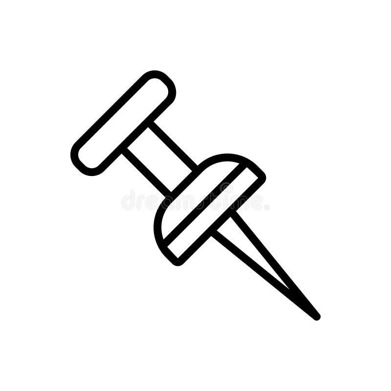 Svart linjeikon för platspin, stift och fäst vektor illustrationer
