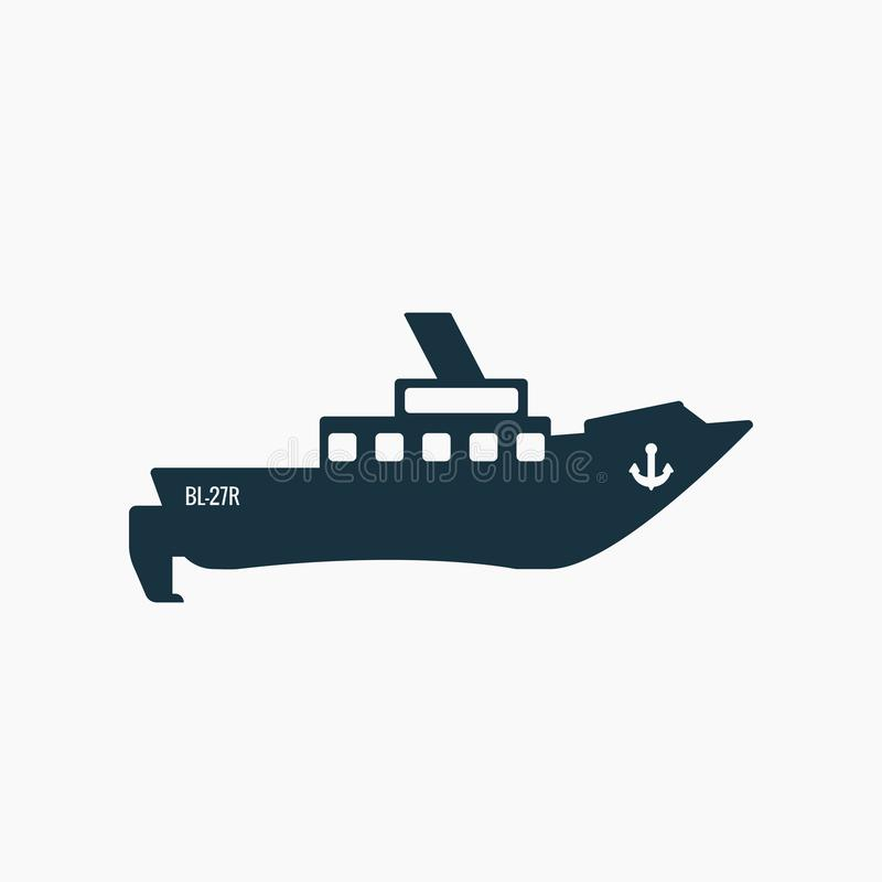Svart liten fiskebåt, skeppsymbol vektor illustrationer