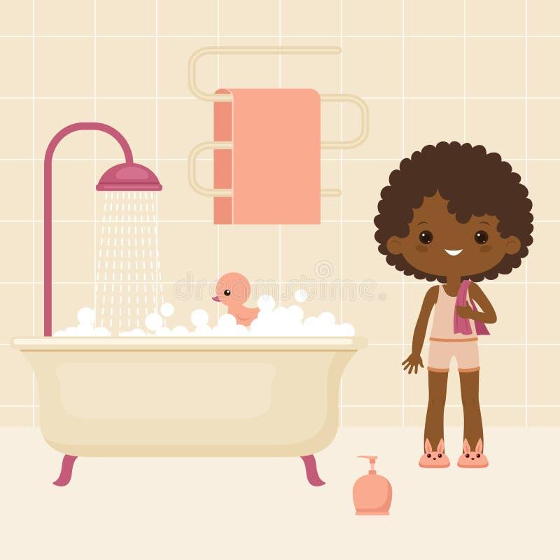 Svart liten flicka som går att ha ett bad royaltyfri illustrationer