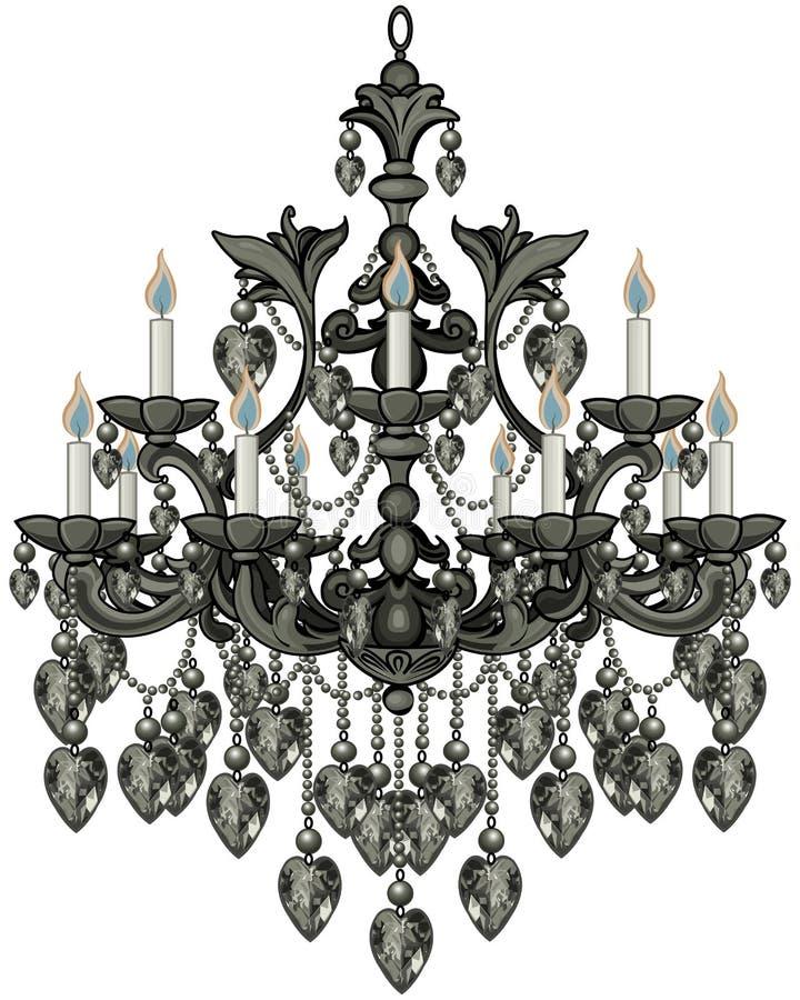 Svart ljuskrona för barock stock illustrationer