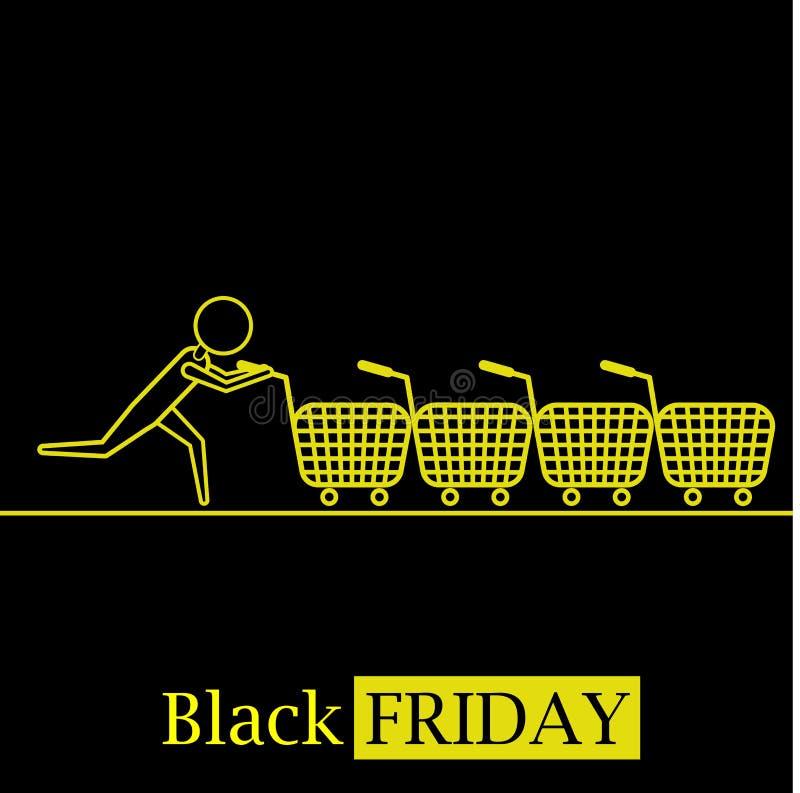 Svart logo för symbol för fredag varm försäljningsbegrepp med shoppingvagnar och svart bakgrund stock illustrationer