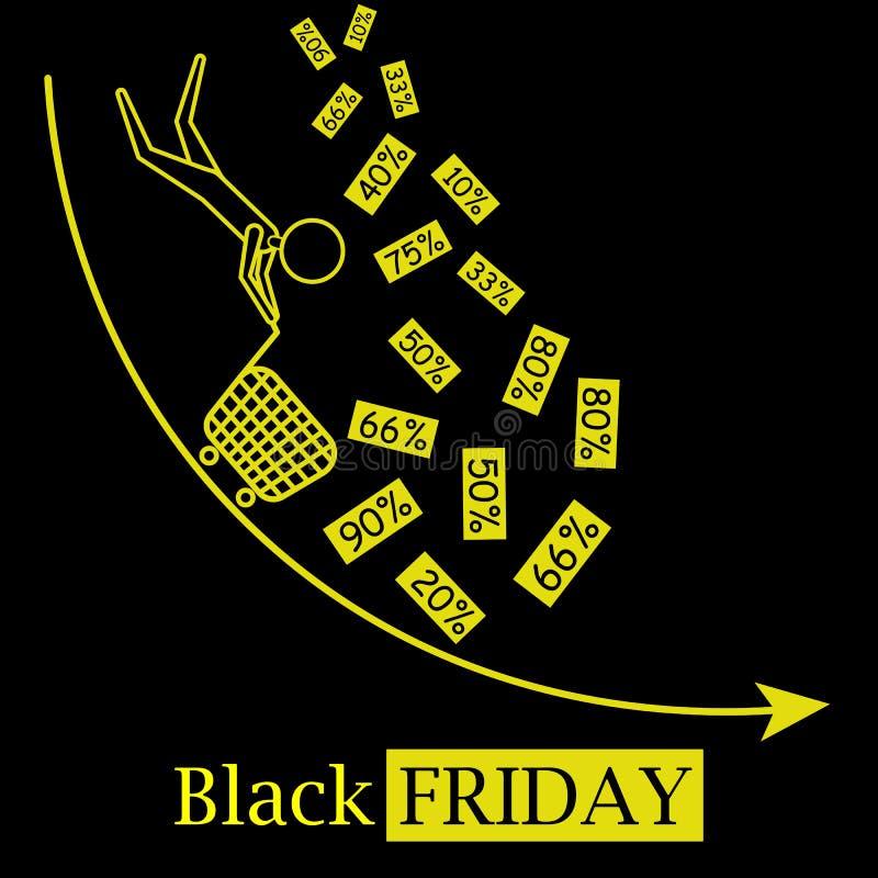 Svart logo för symbol för vektor för fredag varm försäljningsbegrepp med fallande rabatter och svart bakgrund royaltyfri illustrationer