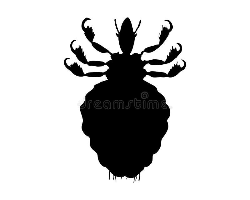 svart lousesilhouette vektor illustrationer