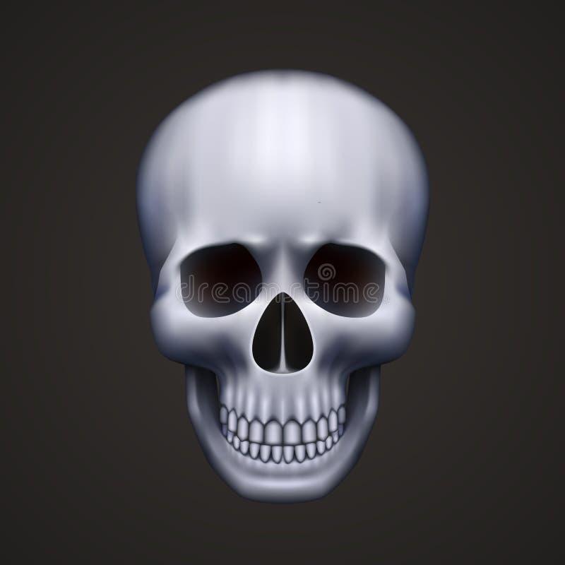 svart mänsklig isolerad skalle vektor illustrationer