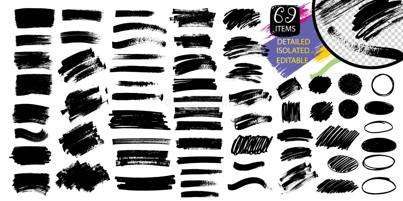 Svart målarfärg, färgpulverborsteslaglängd, linje eller textur royaltyfri illustrationer