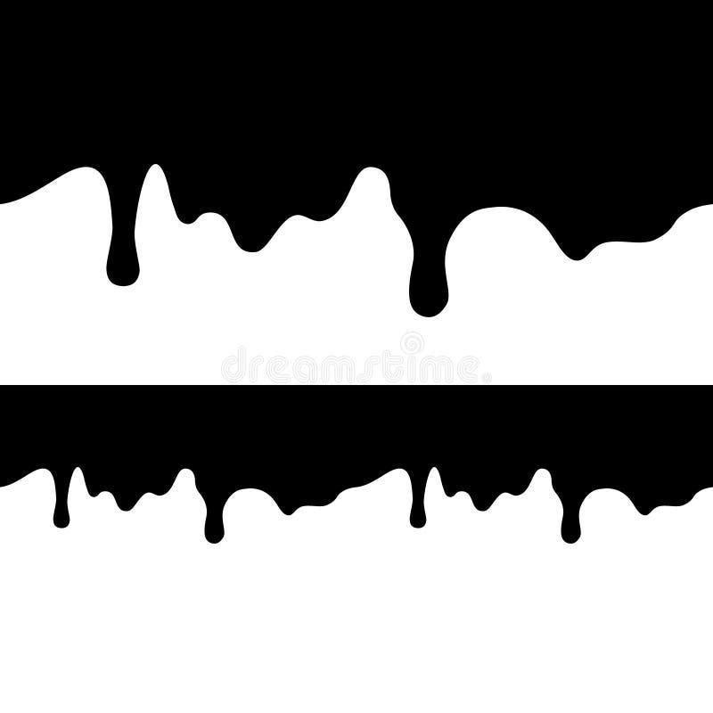 Svart målarfärgstekflott som isoleras på vit bakgrund plan mörkerolja faller uppifrån av bilden och botten seamless textur stock illustrationer