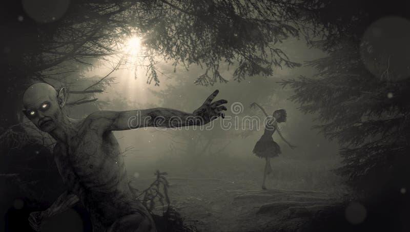 Svart mörker som är svartvitt, atmosfär