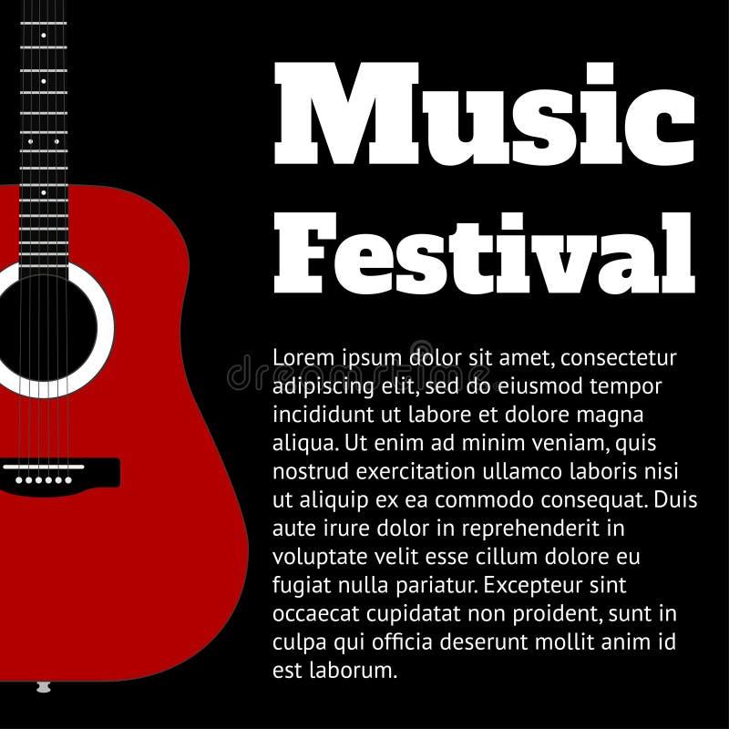 Svart mall för baner eller affisch med gitarren och ställe för textvektorillustration royaltyfri illustrationer