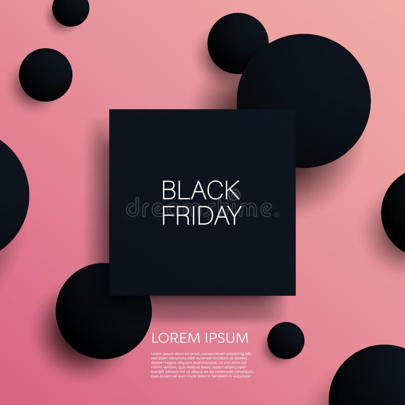 Svart mall för baner för illustration för vektor för fredag försäljning 3d med svarta objekt på rosa bakgrund Försäljningsbefordr royaltyfri illustrationer