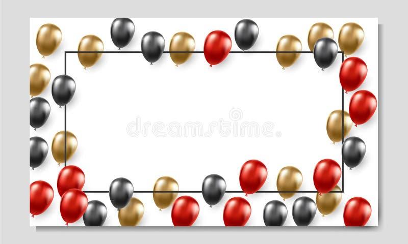 Svart mall för fredag banerannonser med ballonger stock illustrationer