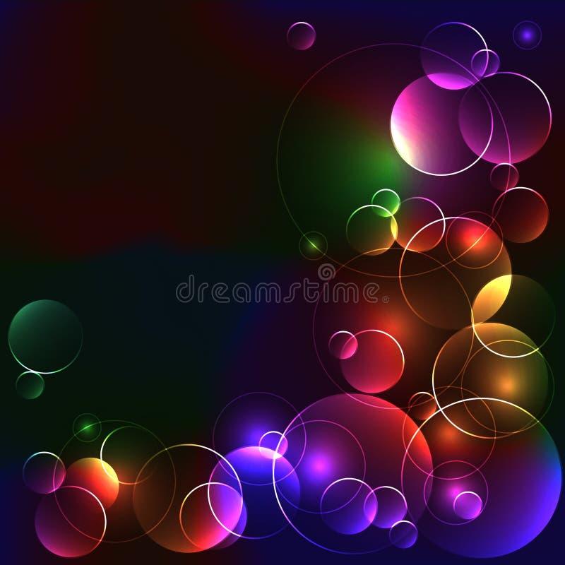 Svart mall med ljusa färgcirklar vektor illustrationer