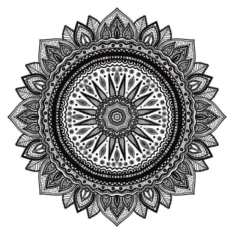 Svart mandala, indiskt motiv Utsmyckad rund prydnad royaltyfri illustrationer
