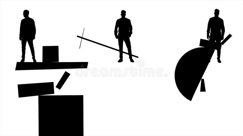 Svart mankonturer som flyttar geometriska diagram på vit bakgrund Suprematism konststil med tre abstrakta män in royaltyfri illustrationer