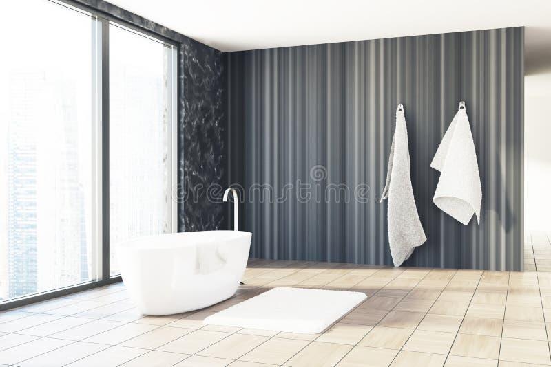 Svart marmor och träbadrummet, vit badar royaltyfri illustrationer