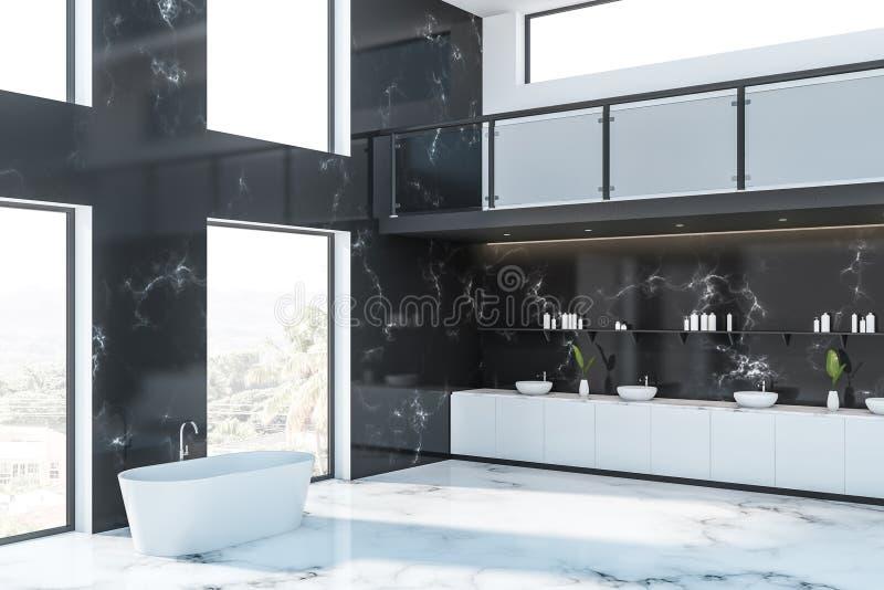 Svart marmorerar badrumhörnet för det lyxiga hotellet stock illustrationer