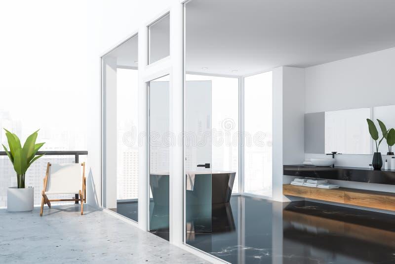 Svart marmorerar badrummet med balkongen och fåtöljen royaltyfri illustrationer