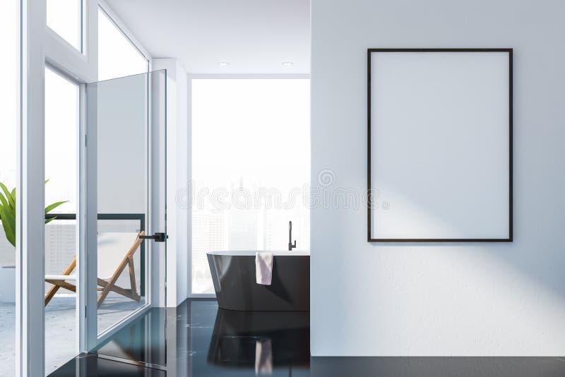 Svart marmorerar golvbadrummet med affischen stock illustrationer