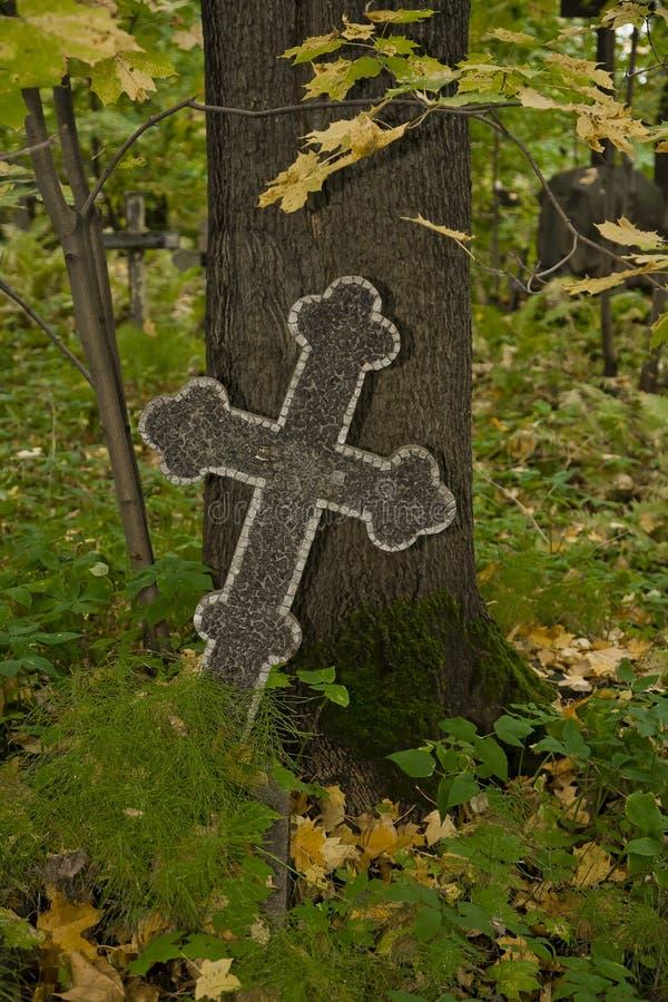 Svart med det gråa korset för kantmosaikortodox på en gammal höstkyrkogård royaltyfri fotografi