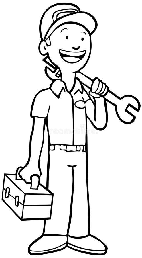 svart mekanikerwhite stock illustrationer