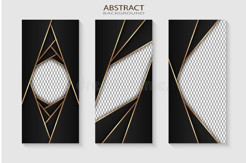 Svart metallark med guld- kanter p? det svarta ingreppet som bakgrunden vektor illustrationer