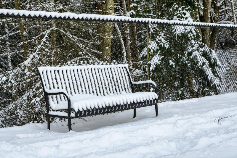 Svart metallbänk som täckas i snö mot ett svart staket för kedjesammanlänkning på en snöig dag, skog i bakgrund arkivbild