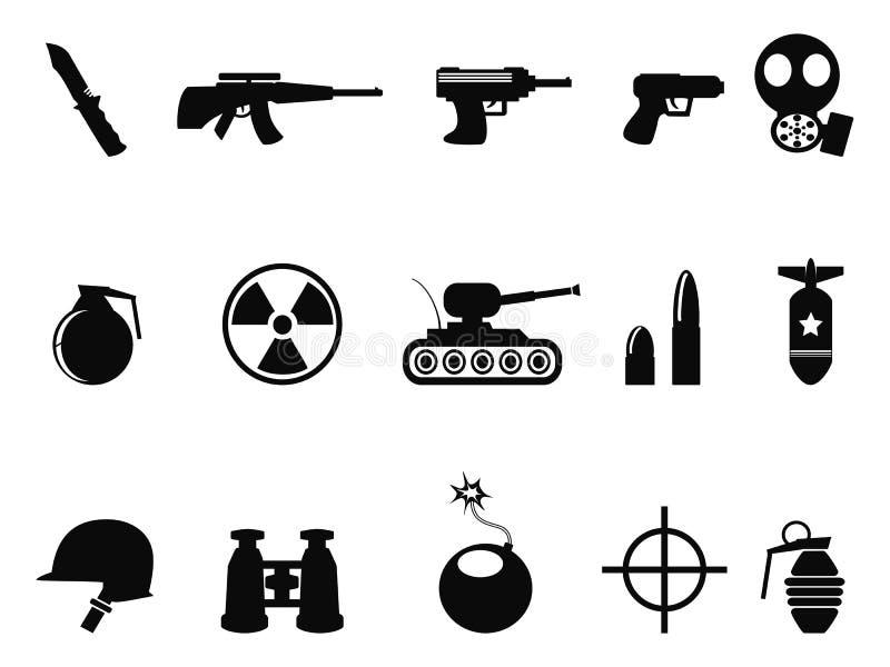Svart militär och armésymbolsuppsättning stock illustrationer