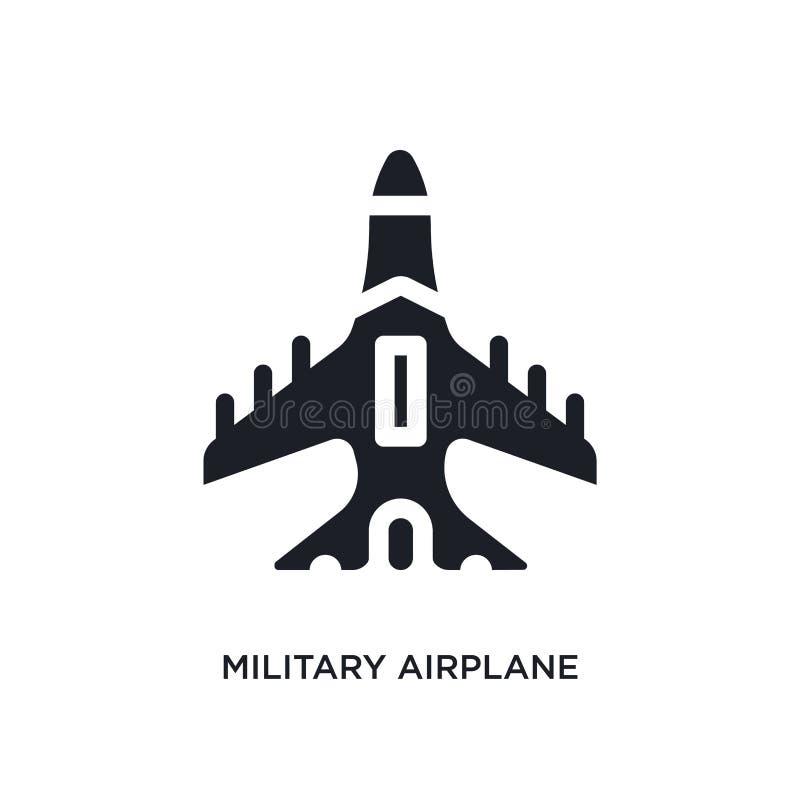 svart militärt flygplan isolerad vektorsymbol enkel beståndsdelillustration från symboler för transport-aytanbegreppsvektor milit stock illustrationer
