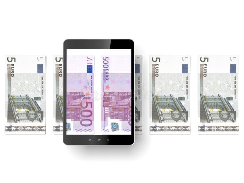 Svart minnestavlaPC med euroräkningar royaltyfri illustrationer