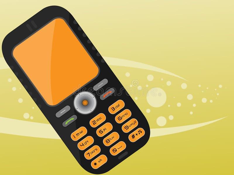 svart mobil orange telefon royaltyfri bild