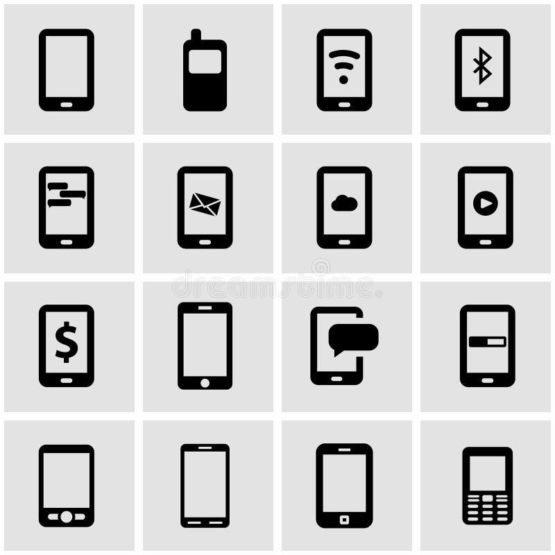 Svart mobil symbolsuppsättning för vektor stock illustrationer